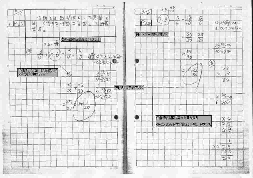 ... ノート(分数、小数の計算